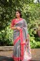 Regular Wear Fancy Linen Cotton Sarees