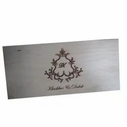 Royal Brown Wooden Wedding Cards, Size: 5x12 Inch