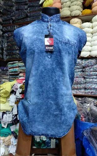 dd237398a4 New York Blue Denim Kurta Shirt