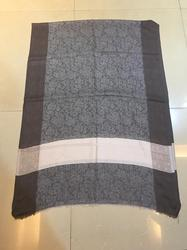 Grey Pashmina Finewool Self Border Stole
