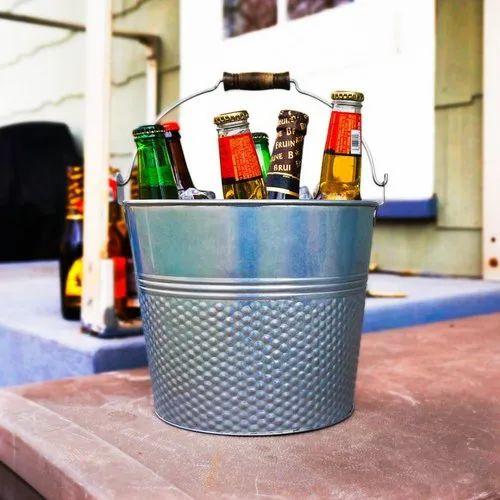 Galvanized Steel Wine Cooler Champagne Bucket With Wooden Handle