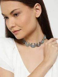 Silver Fashion Oxidised Silver-Toned Stone-Studded Choker Necklace, Size: Onesize