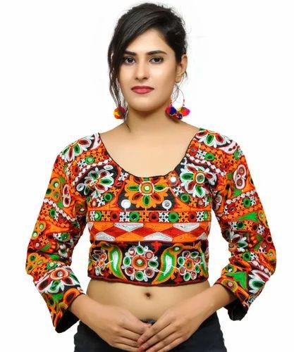 885b5075c6e Round Neck Full Sleeves Banjara India Women  s Aari Embroidered Long Sleeves  Kutchi Blouse -
