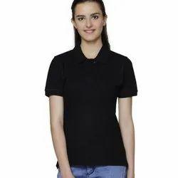 Ruffty Casual Wear Ladies Black Polo Neck Cotton T Shirt, Size: S-XL