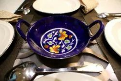 Blue Pottery Multicolor Flower Printed Serving Dish