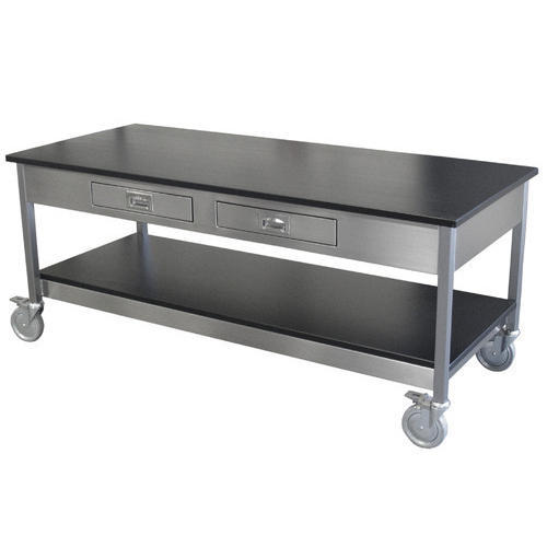 Stainless Steel Rectangular Wheeled Work Table Rs Piece ID - Stainless steel work table with wheels