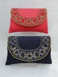 Jute Beaded Work Ladies Clutch