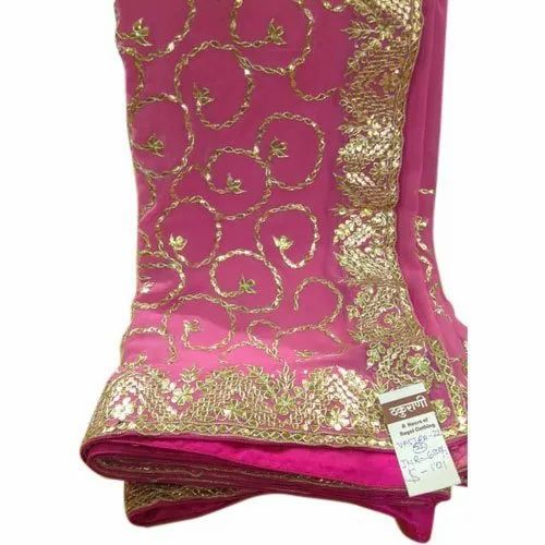 Party Wear Pink and Golden Designer Gota Work Chiffon Saree, Length: 5.5 m