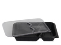 Plastic Disposable Meal Tray Heavy With Lid 2 Compartment