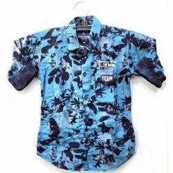 Full Sleeves Kids Party Wear Printed Lycra Shirt