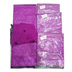 Purple Ladies Cotton Embroidery Suit