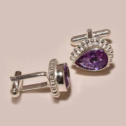 Violet Gemstone Sterling Silver Cufflinks