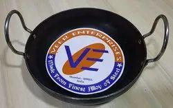 Veer MS Black Flat Bottom Kadai
