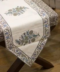 Cotton Hand Block Printed Jaipuri Table Runner White