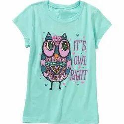 Half Sleeve Round Girls Cotton Printed T-Shirts