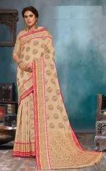 India Attires Bridal Wear Cotton Saree, Length: 5.5 m (Separate Blouse Piece)