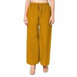 Plain Musturd Stitched Rayon Ladies Palazzo Pants, Waist Size: 28.0