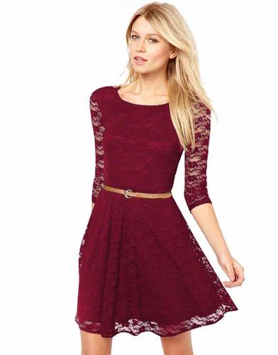 Net Dresses Wigglee New Designer Maroon Western Dress Rs 499 Piece Id 14886648991