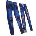Ladies Blue Printed Jeans