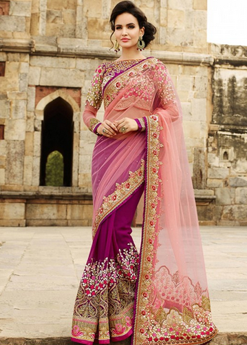 2cbdc1013 Kaavifab Designer Saree buy rani pink nylon net with georgette designer  saree