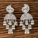 White Cz Jhumki Earring With Rhodium Plating 405574
