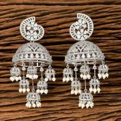 Cz Jhumki Earring With Rhodium Plating 405574