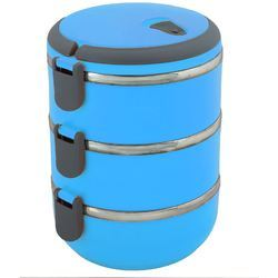 Stallion Stainless Steel Air Tight Tiffin Box, 3 Containers, Size: 900 Ml
