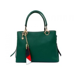 Plain Handbags Ladies Green PU Handbag