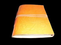 Yellow Embossed Leather Bound Journal