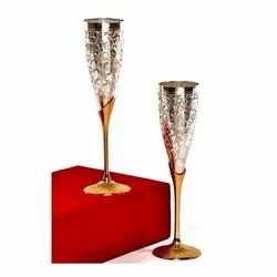 Silver-Gold Plated Goblet Flute Wine Glass