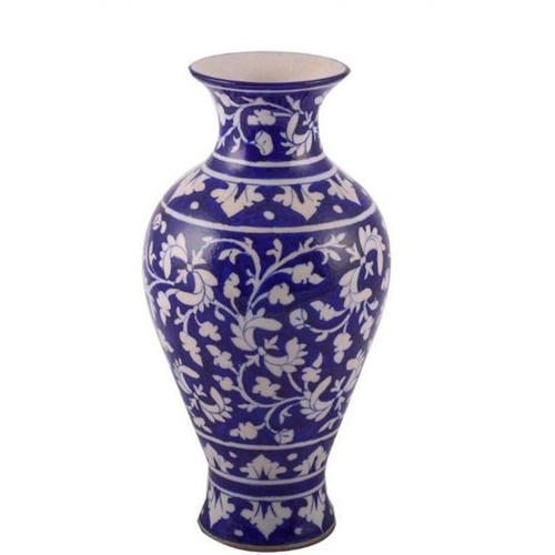 Blue Pottery Vase With The Broad Blue Pattern