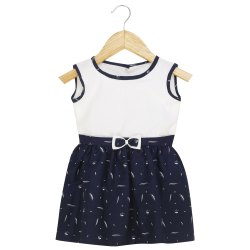 Blue And White Cotton PRACHALAN Baby Girl Dress Blue