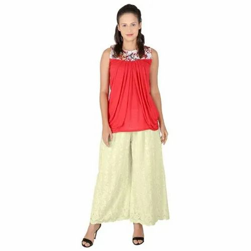 Cotton Casual Wear Ladies Chiken (Embroidery) Palazzo Pant