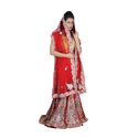 Georgette Red Bridal Lehenga, Size: S-l