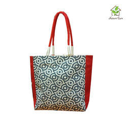 Jute Ladies Bag With Colored Gusset