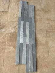 Silver Grey & Black Ledgestone Panel