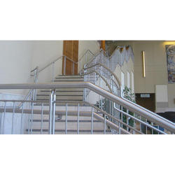 Silver And Stainless Steel Staircase Railing