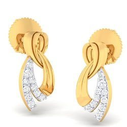 Real Yellow Gold Diamond Earrings