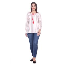 White and Red Designer Crepe Top