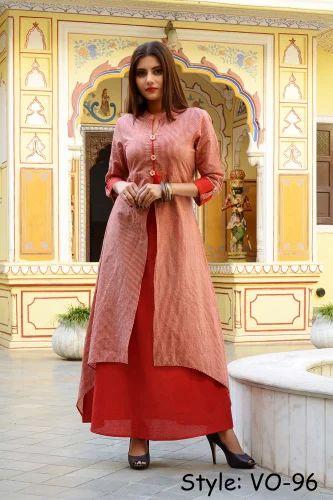 Vedika Overseas Red Cotton Double Laye Long Dress 6dc4c6926