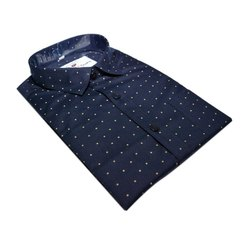 Blue Formal Wear Mens Dotted Shirt