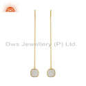 Gold Plated Silver Longing Rainbow Moonstone Gemstone Earrings
