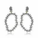 Baguette Diamonds Uneven Shaped Earrings Silver