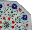 Handmade Flowered Design Hand Painted Carved Table Top