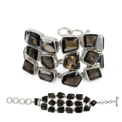 Pearl India International Eye Catching Smoky Quartz Sterling Silver Bracelet
