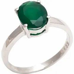 Green Onyx Ring  Silver Gemstone