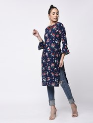 Yash Gallery Women Cotton Printed Straight Kurta