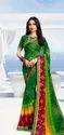 Silk Green Chiffon Bandhani Prints Sarees, Packaging Type: Box