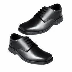 Boys Black Lace-Up School Shoes