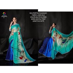 Rachna Linen Silk Digital Printed Portrait Again Catalog Saree For Women